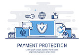 Secure transactions and payments protection. Vector illustration modern  thin line design.