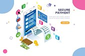 Online payment. Internet payments, protection of money in cellphone transactions. Can use for web banner, infographics, hero images. Flat isometric vector illustration isolated on white background.