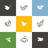 Peace dove with green branch. Flat line design style vector illustrations set of icons and design elements