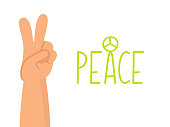 Peace human hand on white background. Peaceful gesture. Isolated flat cartoon illustration.