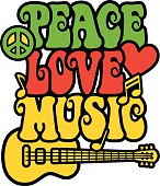 Retro-styled text design of the words, Peace  Love Music, with a peace symbol, guitar, heart and musical notes in green, red and yellow. Type style is my own design.