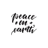 Peace on earth - freehand ink hand drawn calligraphic design for Xmas greetings cards, invitations. Handwritten calligraphy isolated on white background. Vector illustration.