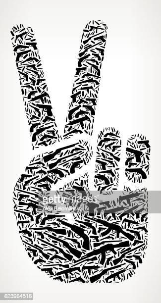 Peace Sign Gun Black Icon Pattern Background
