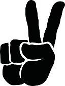 A vector illustration of a cartoon hand making a 'V' peace symbol gesture