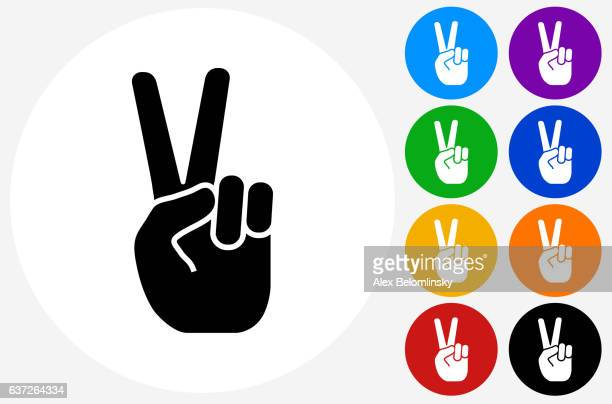 Peace Sign Icon on Flat Color Circle Buttons