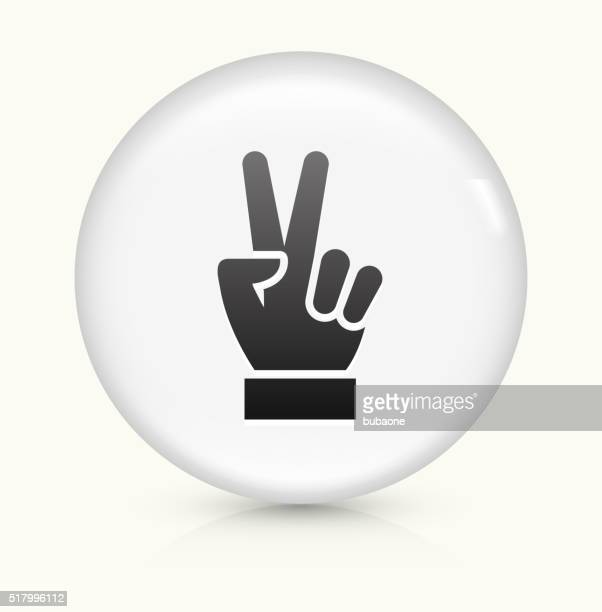 Peace Sign icon on white round vector button