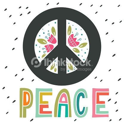 Paz Senal Con La Mano Letras Flores Y Elementos De La Decoracion