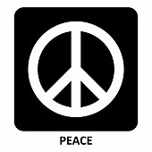 Illustration of the Peace symbol on the dark background