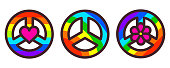 Peace symbol set, rainbow color pacific sign, vector illustration in modern line art style