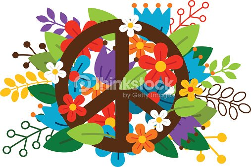 Peace Symbol With Flowers Vector Art Thinkstock