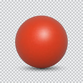 Red pearl realistic isolated on transparent background. Spherical beautiful 3D orb with transparent highlights for decoration. Jewelry gemstones. Vector Illustration for your design and business.