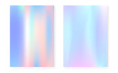 Pearlescent background with holographic gradient. Hologram cover set. 90s, 80s retro style. graphic template for book, annual, mobile interface, web app. Trendy pearlescent background set.