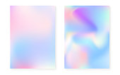 Pearlescent background with holographic gradient. Hologram cover set. 90s, 80s retro style. graphic template for book, annual, mobile interface, web app. Vibrant pearlescent background set.