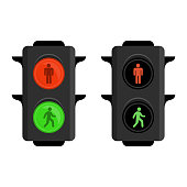 Pedestrian traffic lights red and green. Semaphore isolated on white background. Simple traffic light. Vector illustration in flat style. EPS 10.