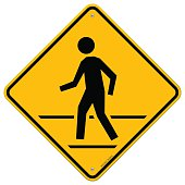 Road symbol with person crossing street isolated on white