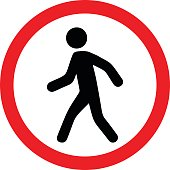 Pedestrians prohibited sign vector design isolated on white background
