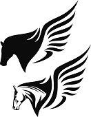 pegasus profile head design - winged horse black and white vector illustration