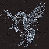 Pegasus greek mythological creature. Legendary beast concept drawing. Vintage tattoo design. Sketch on black nightsky background with stars. Astronomic illustration. EPS10 vector illustration.