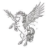 Pegasus greek mythological creature. Legendary beast concept drawing. Heraldry figure. Vintage tattoo design. Sketch isolated on a white background. EPS10 vector illustration.