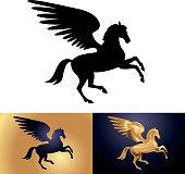 Mythology creature Pegasus black isolated on white