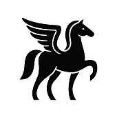 Pegasus template. Stylized winged horse silhouette, isolated vector illustration.