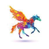 Pegasus vector symbol. Rainbow watercolor splash paint