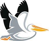 Stylized bird - American White Pelican