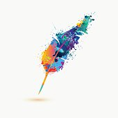 pen feather. Rainbow splash paint