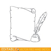 Pen Ink Parchment. Old paper. Editable vector illustration in free hand style.