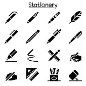 Pen, Pencil, Stationery icon set vector illustration graphic design