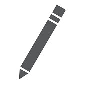 Pencil glyph icon, school and education, edit sign vector graphics, a solid pattern on a white background, eps 10.