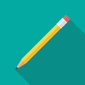 Pencil icon with long shadow. Flat design style. Pencil simple silhouette. Modern minimalistic icon in stylish colors. Web site page and mobile app design vector element.