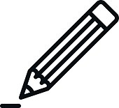 Pencil fully scalable vector icon in outline style.