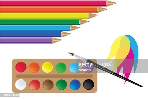 Stifte Und Farben Farben Regenbogen Vektor Vektorgrafik Thinkstock