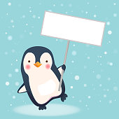Penguin holding sign. Save Wildlife Protect World Concept