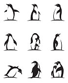 collection of black penguin icons isolated on white background