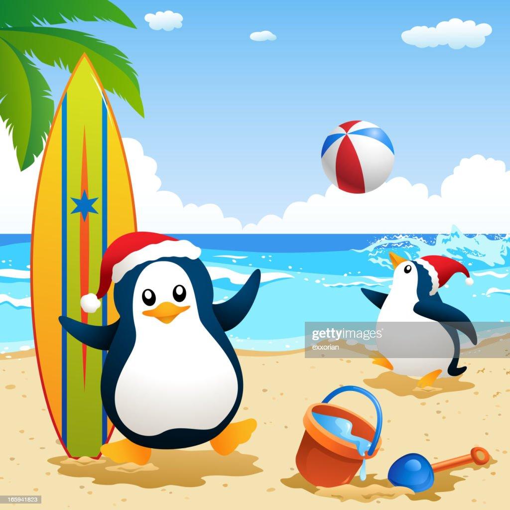 Penguin Summer Christmas : Vector Art