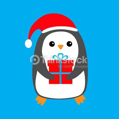d4bf7fd5ebdb8 Penguin wearing Santa Claus red hat. Gift box. Cute cartoon kawaii funny  animal character. Merry Christmas. Flat design. Winter blue background.
