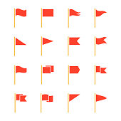 Pennants and flags set. Advertising and party, grand openings, sports events red decoration. Vector flat style cartoon illustration isolated on white background