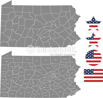 United States Map With County Names.Pennsylvania County Map Vector Outline In Gray Background