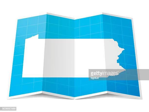 Pennsylvania Map folded, isolated on white Background