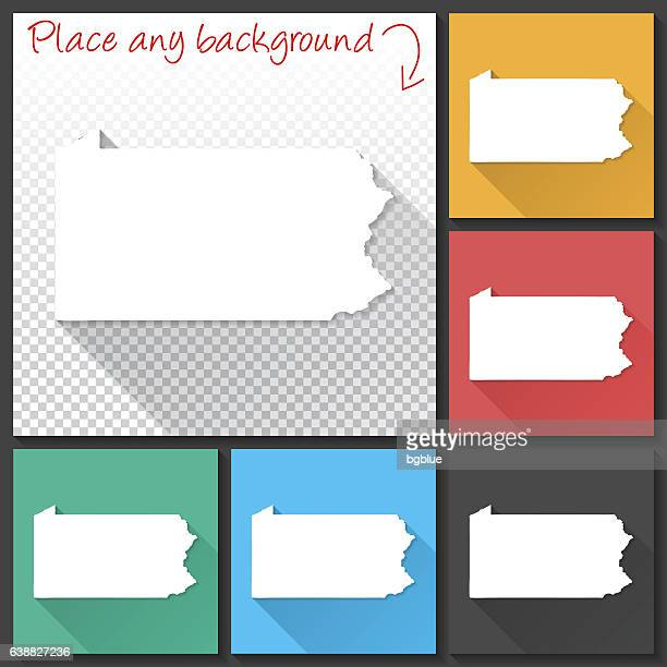 Pennsylvania Map for design, Long Shadow, Flat Design