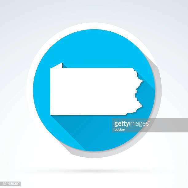 Pennsylvania map icon, Flat Design, Long Shadow