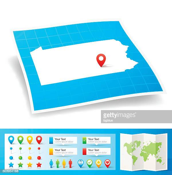 Pennsylvania Map with location pins isolated on white Background