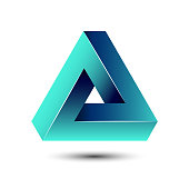 Penrose impossible triangle icon. Geometric 3D shape optical illusion vector illustration for  idea.