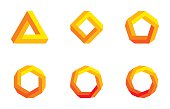 Penrose triangle and polygons in yellow and orange colors. Penrose tribar, an impossible object, appears to be a solid object. Further square, pentagon, hexagon, heptagon and octagon. Illustration.