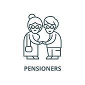 Pensioners vector line icon, outline concept, linear sign