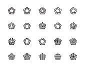 Geometric Shape, Pentagon, Five, Logo, Design Concept, Creative Symbol, High Quality, Icon, Vector and Illustration