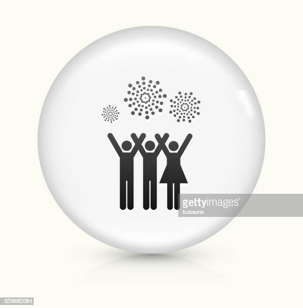 People and Fireworks icon on white round vector button