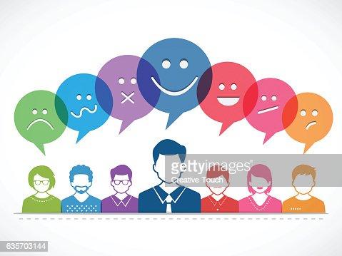 Personas y hablar con las emociones : Arte vectorial